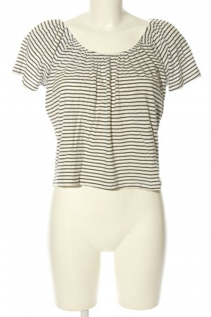 Mango casual Carmen Shirt white-black striped pattern casual look