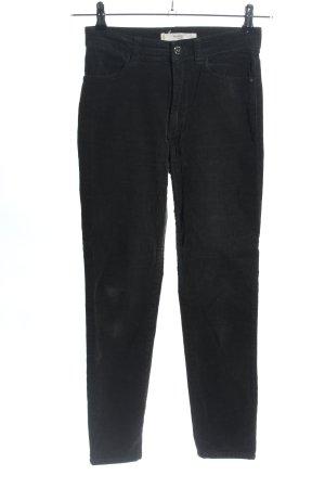 Mango casual Pantalon en velours côtelé noir style décontracté
