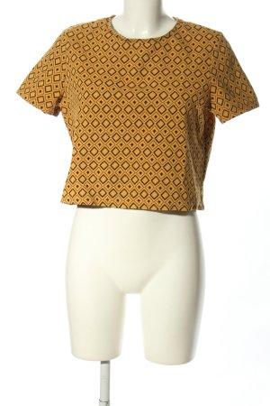Mango casual Cropped shirt licht Oranje-zwart volledige print casual uitstraling