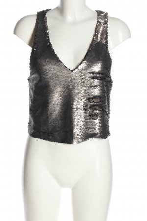 Mango casual Cropped Top silver-colored glittery