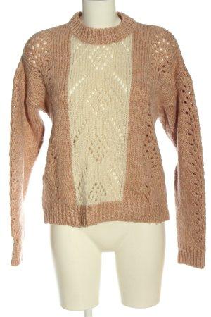 Mango casual Sweter z grubej dzianiny nude-kremowy Warkoczowy wzór