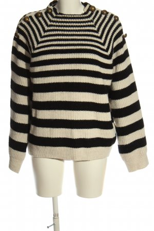 Mango casual Crochet Sweater black-natural white striped pattern casual look