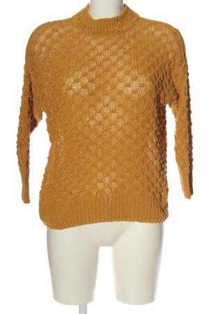 Mango casual Szydełkowany sweter jasny pomarańczowy Siateczkowy wzór