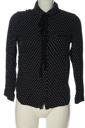 Mango casual Hemd-Bluse schwarz-weiß Allover-Druck Business-Look