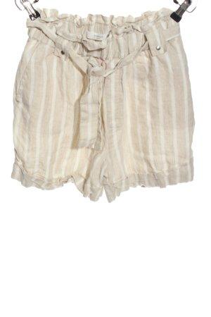 Mango casual High-Waist-Shorts creme-weiß Streifenmuster Casual-Look