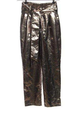 Mango casual Pantalón de pinza alto color bronce look efecto mojado