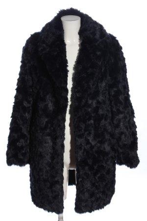 Mango casual Manteau en fausse fourrure noir style décontracté