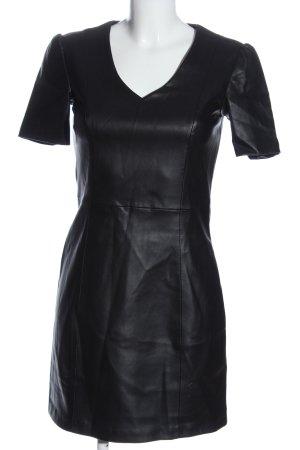 Mango casual Sukienka z imitacji skóry czarny W stylu casual