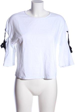 Mango casual Kurzarm-Bluse weiß-schwarz Casual-Look