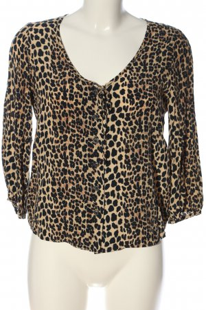 Mango casual Langarm-Bluse creme-schwarz Allover-Druck Casual-Look
