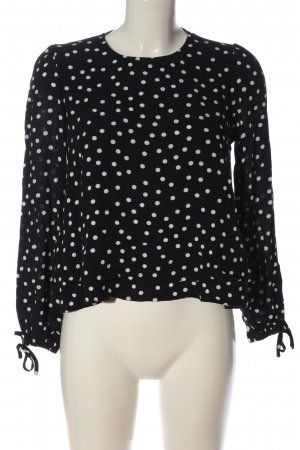 Mango casual Langarm-Bluse schwarz-weiß Punktemuster Casual-Look