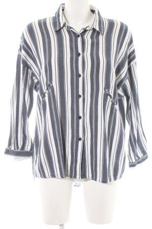 Mango casual Langarmhemd weiß-dunkelblau Streifenmuster Casual-Look