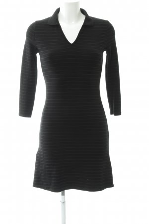 Mango casual Polo Dress black striped pattern simple style