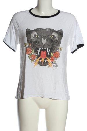Mango casual Print-Shirt weiß Motivdruck Casual-Look
