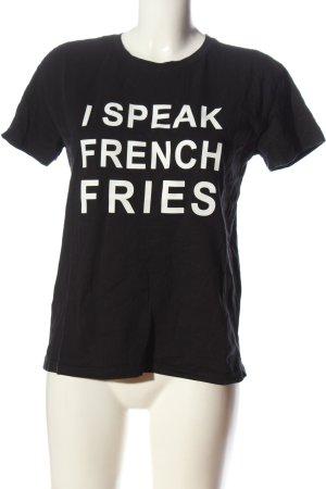 Mango casual Print-Shirt schwarz-weiß Schriftzug gedruckt Casual-Look