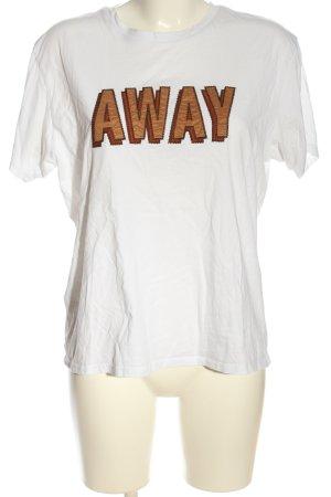 Mango casual Print-Shirt weiß Schriftzug gedruckt Casual-Look