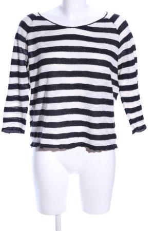 Mango casual Ringelshirt schwarz-weiß Allover-Druck Casual-Look