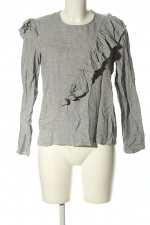 Mango casual Ruche blouse lichtgrijs gestippeld casual uitstraling