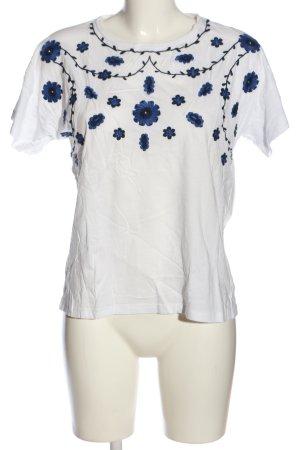 Mango casual Blusa caída blanco-azul estampado floral look casual