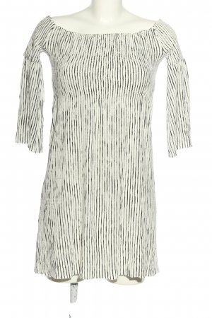 Mango casual schulterfreies Kleid wollweiß-schwarz Streifenmuster Casual-Look
