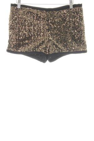 Mango casual Shorts schwarz-goldfarben extravaganter Stil