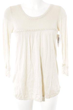 Mango Casual Sportswear Rundhalspullover creme Vintage-Look