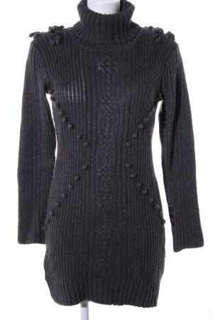 Mango Casual Sportswear Strickkleid schwarz Zopfmuster Business-Look