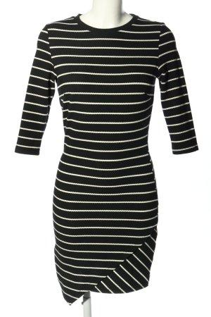 Mango casual Stretchkleid schwarz-weiß Streifenmuster Casual-Look