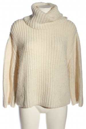 Mango casual Strickpullover creme Zopfmuster Casual-Look