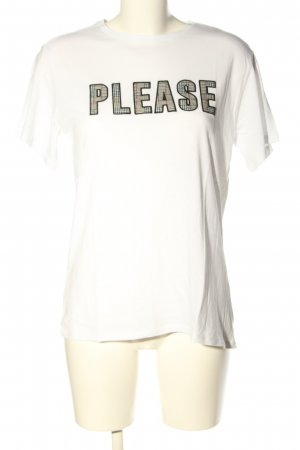 Mango casual T-Shirt weiß-schwarz Schriftzug gedruckt Casual-Look