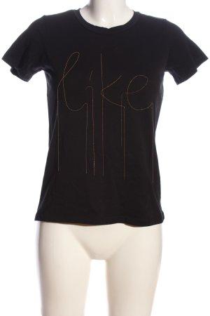 Mango casual T-Shirt schwarz Schriftzug gedruckt Casual-Look