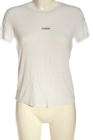 Mango casual T-Shirt weiß Schriftzug gestickt Casual-Look