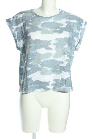 Mango casual T-Shirt blau-weiß Allover-Druck Casual-Look