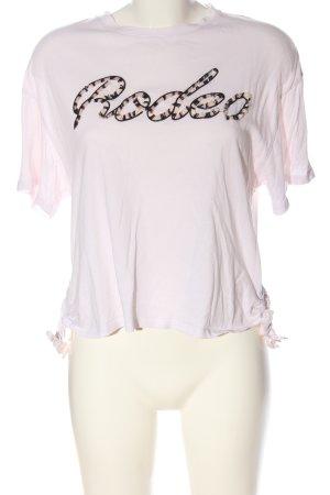 Mango casual T-Shirt pink Schriftzug gedruckt Casual-Look