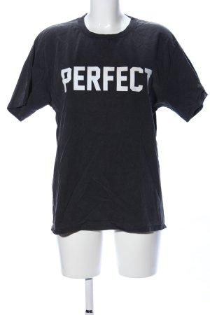 Mango casual T-Shirt schwarz-weiß Schriftzug gedruckt Casual-Look