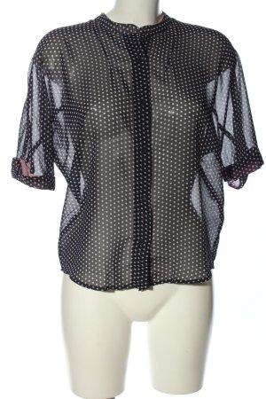 Mango casual Transparenz-Bluse schwarz-wollweiß Allover-Druck Business-Look