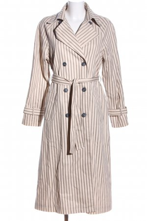Mango casual Trenchcoat creme-hellgrau Streifenmuster Casual-Look