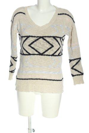 Mango casual V-Ausschnitt-Pullover grafisches Muster Casual-Look