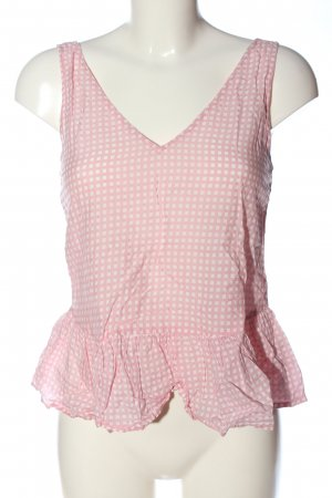 Mango casual Top con volantes rosa-blanco look casual