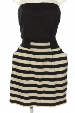 MANGO CASUAL WEAR Bandeaukleid schwarz-creme Streifenmuster Casual-Look
