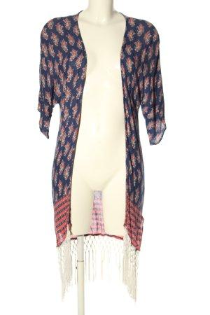 MANGO CASUAL WEAR Kimono blu-rosso motivo floreale stile casual
