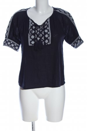 MANGO CASUAL WEAR Kurzarm-Bluse schwarz-weiß Casual-Look