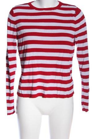 MANGO CASUAL WEAR Rundhalspullover rot-weiß Streifenmuster Casual-Look