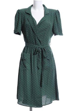Mango casual Robe portefeuille vert-blanc motif de tache style décontracté