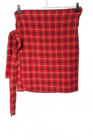 Mango casual Falda cruzada rojo estampado a cuadros look casual