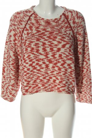 Mango casual Cable Sweater red-white abstract pattern casual look