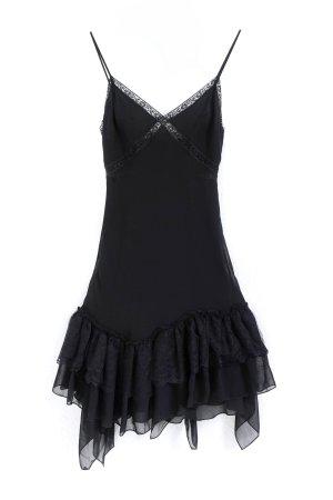 Mango Chiffon Dress black