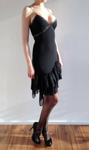 MANGO Chiffon Spitzen Gothic Salsa Kleid Mini black – XS