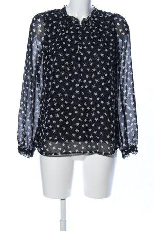 Mango collection Langarm-Bluse schwarz-weiß Allover-Druck Casual-Look