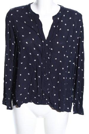 Mango collection Langarm-Bluse blau-weiß Motivdruck Casual-Look